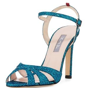 SJP Westminster Glitter Strappy Sandals Heels